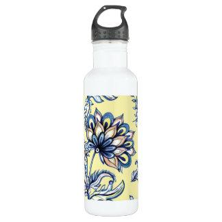Premium watercolor hand drawn floral batik pattern 710 ml water bottle