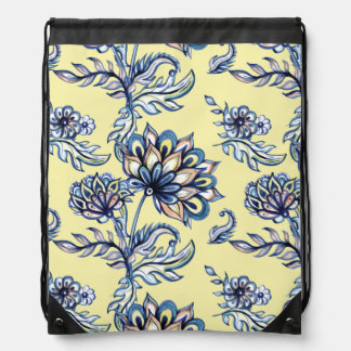 Premium watercolor hand drawn floral batik pattern drawstring bag