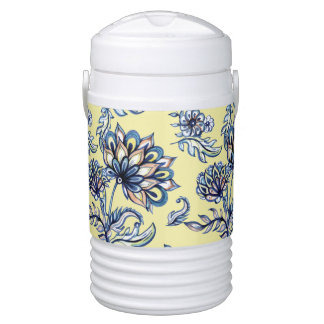 Premium watercolor hand drawn floral batik pattern drinks cooler