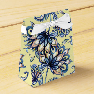 Premium watercolor hand drawn floral batik pattern favour box