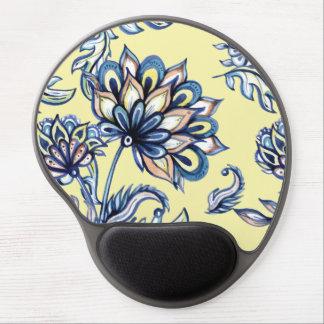 Premium watercolor hand drawn floral batik pattern gel mouse pad