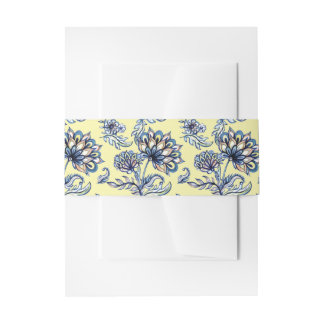 Premium watercolor hand drawn floral batik pattern invitation belly band