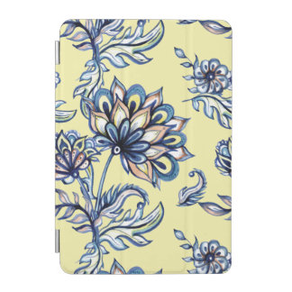 Premium watercolor hand drawn floral batik pattern iPad mini cover