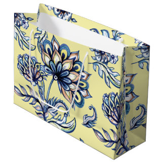 Premium watercolor hand drawn floral batik pattern large gift bag