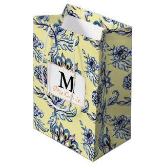 Premium watercolor hand drawn floral batik pattern medium gift bag