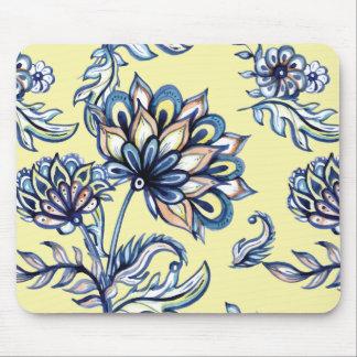 Premium watercolor hand drawn floral batik pattern mouse pad