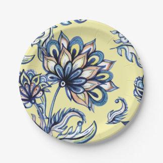 Premium watercolor hand drawn floral batik pattern paper plate