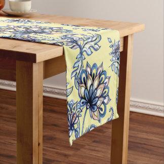Premium watercolor hand drawn floral batik pattern short table runner