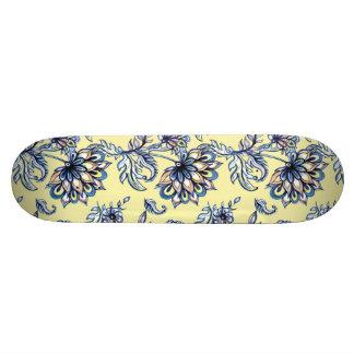 Premium watercolor hand drawn floral batik pattern skateboard deck