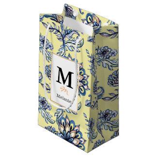 Premium watercolor hand drawn floral batik pattern small gift bag
