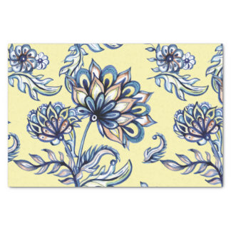 Premium watercolor hand drawn floral batik pattern tissue paper
