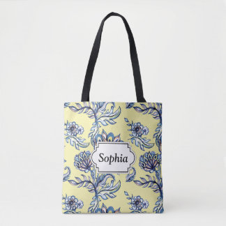 Premium watercolor hand drawn floral batik pattern tote bag