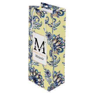 Premium watercolor hand drawn floral batik pattern wine gift bag
