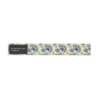 Premium watercolor hand drawn floral batik pattern wraparound address label