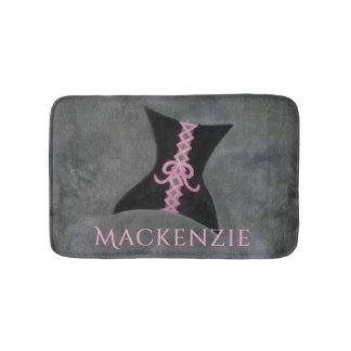 Preoccupied Bath | Name Black Corset Pink Ribbon Bath Mat