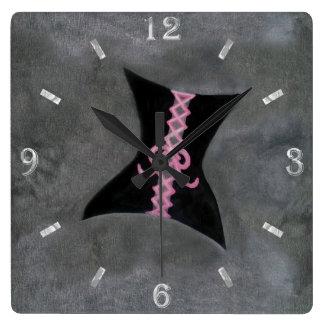 Preoccupied Decor | Black Corset Pink Ribbon | Square Wall Clock