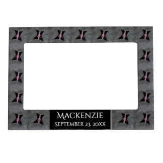 Preoccupied Gift | Name Black Corset Pink Ribbon Magnetic Frame