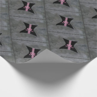 Preoccupied Party | Black Corset Pink Ribbon Bow Wrapping Paper