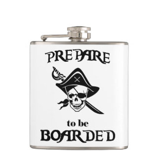 Prepare to be Boarded Black Pirate Skull and Sword Hip Flask
