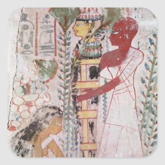 Preparing a mummy for a purification ceremony square sticker