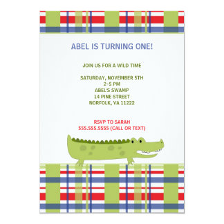 Preppy Alligator Birthday Party Invite