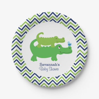 Preppy Alligator Chevron Baby Shower Paper Plate