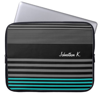 Preppy and Fresh Teal Stripes With Name Laptop Sleeves