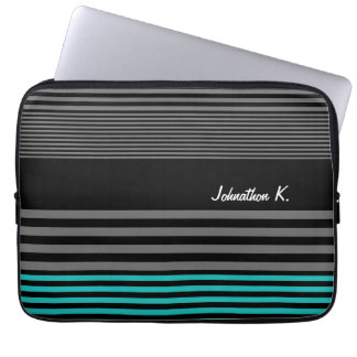 Preppy and Fresh Teal Stripes With Name Laptop Computer Sleeve