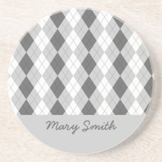 Preppy Argyle Custom Name Gray Pattern Coaster