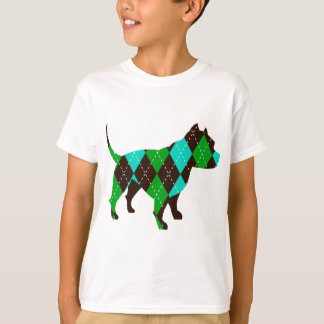 Preppy Argyle Dog Pitbull (blue/green/brown) T-Shirt
