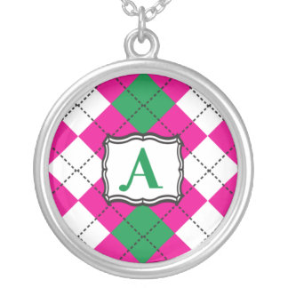 Preppy Argyle Monogram Necklace