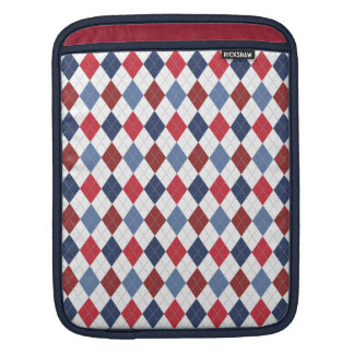 Preppy Argyle Patriotic USA Red White Blue Sleeves For iPads