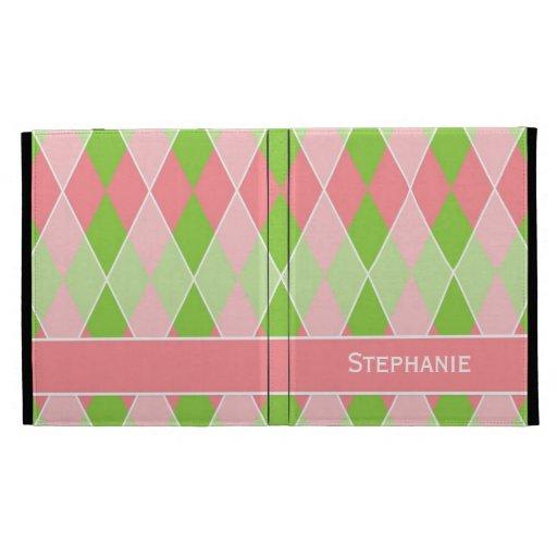 Preppy Argyle Plaid Fun Prep Modern Hot Pink Lime iPad Folio Cover