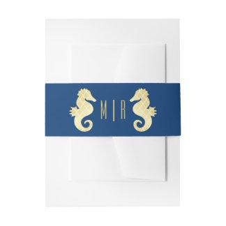 Preppy Beach Seahorse Navy Gold Monogram Wedding Invitation Belly Band