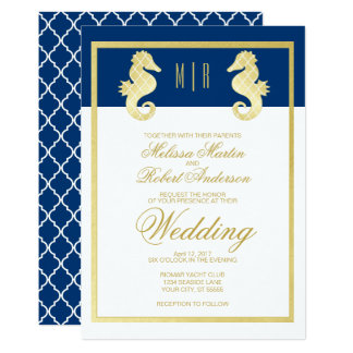 Preppy Beach Seahorse Navy Gold Wedding Card