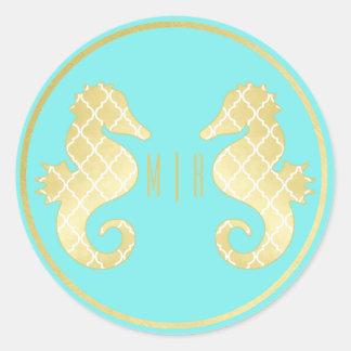 Preppy Beach Seahorse Turquoise Gold Wedding Classic Round Sticker