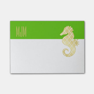 Preppy Beach Tropical Seahorse Green Post-it Notes