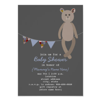 Preppy Bear & Plaid Bunting Baby Shower Invitation