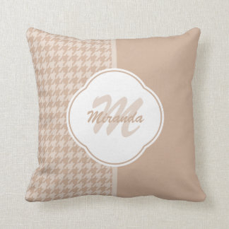 Preppy Beige and Tan Houndstooth Monogram and Name Throw Pillow