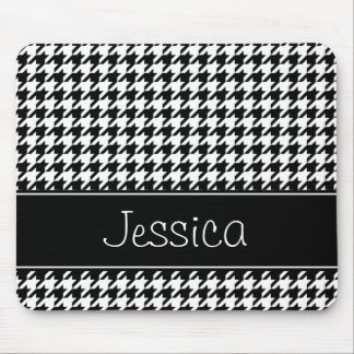 Preppy Black and White Houndstooth Personalized Mouse Pad