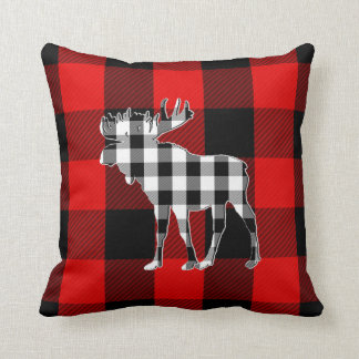 Preppy Black White Red Buffalo Check | Moose Cushion
