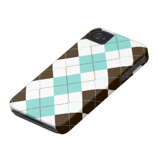 Preppy Blue and Brown Checker Patterns Case-Mate iPhone 4 Cases