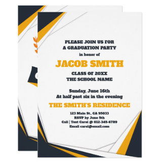 Preppy Blue and Yellow Graduation Party Invitation