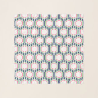 Preppy Blue Green and Pink Honeycomb Pattern Scarf