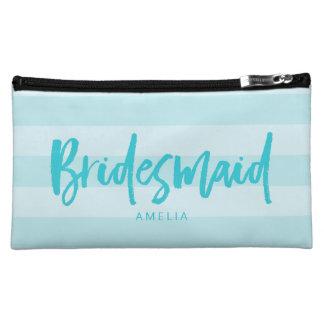 Preppy Blue Stripes Brush Script Bridesmaid Makeup Bag