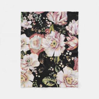 Preppy bohemian country girly chic black floral fleece blanket