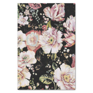Preppy bohemian country shabby chic black floral tissue paper
