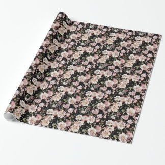 Preppy bohemian country shabby chic black floral wrapping paper