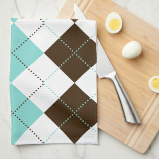 Preppy Brown and Teal Blue Checker Patterns Tea Towel