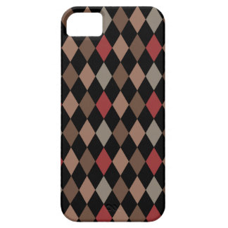 Preppy Brown Red and Black Argyle Pattern Case For The iPhone 5